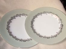 2 X VINTAGE ELEGANT DINNER PLATES GRINDLEY SATIN WHITE SAGE RIM GILDED IVY LEAF